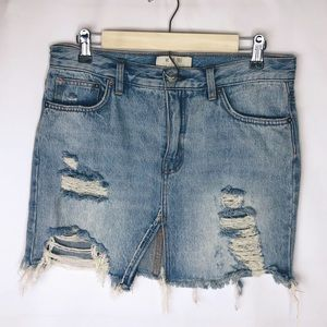 FREE PEOPLE Distressed Denim Mini Skirt in Size 27